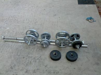 Weight Set with Inclinedecline Bench, floor pad. Ab machine optional - $115 (Tempe)