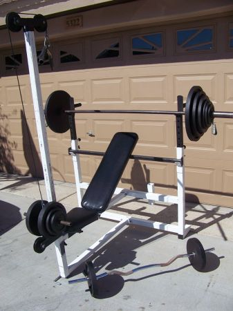 PARABODY BENCH, LAT PULL, AND OVER 345LBS. OF WEIGHTS - $265 (51ST AVE101)
