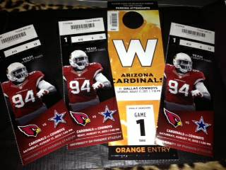 CardinalsCowboys Game Tickets - $200 (Sect 410Row 6Seats 12-14)