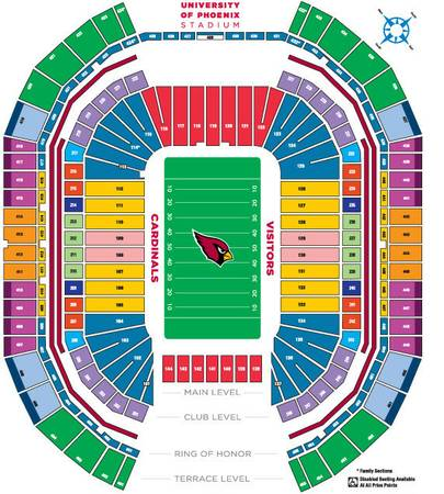 DALLAS COWBOYS ARIZONA CARDINALS TICKETS ROW 1 - $150 (127, row 1 )