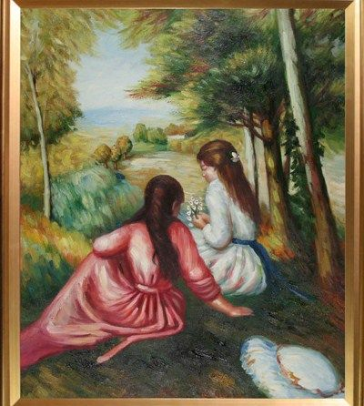 Art 31 W X 38 H TWO GIRLS IN THE MEADOW (PICKING FLOWERS) RENOIR - $95 (AHWATUKEE)