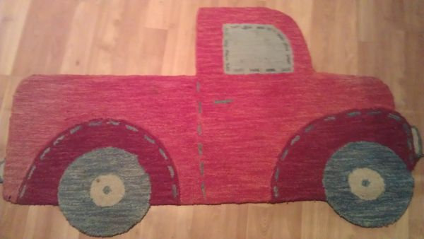 Pottery Barn Kids Truck Rug red blue Really Cute - $60 (Arcadia area)