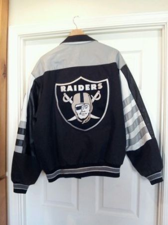VINTAGE OAKLAND RAIDERS NFL JEFF HAMILTON COTTON 100 LEATHER JACKET - $80 (Tempe)