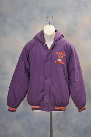 VINTAGE PHOENIX SUNS BUTTON UP ZIP JACKET 1990S NBA - HOODED COAT - $100 (PHOENIX)