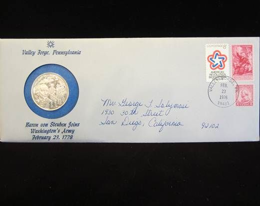 Baron von Steuben medallion First-Day-Cover sts (FDC2) - $45 (Mesa, AZ)