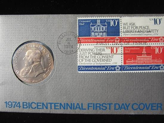 1974 Bicentennial John Adams Medal First-Day-Cover sts (FDC1) - $12 (Mesa, AZ)