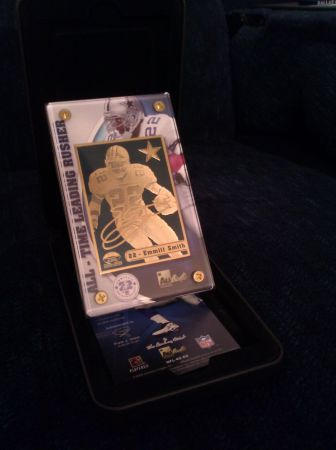Emmitt Smith Danbury Mint gold plated trading card nfl Dallas Cowboys - $1 (East Mesa)