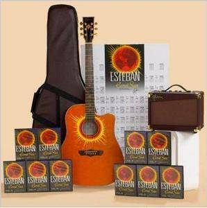 LIMITED EDITION CORAL SUN ESTEBAN GUITAR LEARNING PACKAGE - NEW UNUSED - $250 (COMPLETE WITH DVD AND MATCHING AMP)