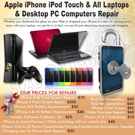 Apple iPhone iPod Touch All Laptop Desktop PC Computer Repair (Tempe,Az)