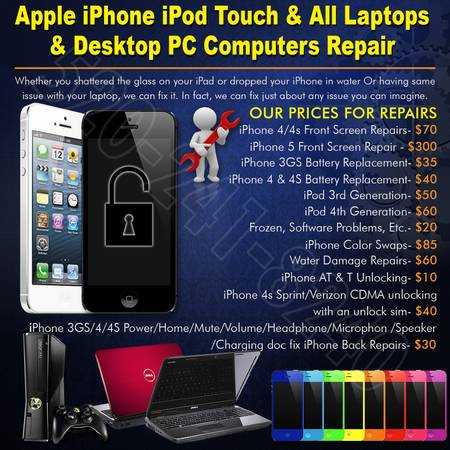 Apple iPhone iPod Touch All Laptop Desktop PC Computer Repair (Tempe, Az)