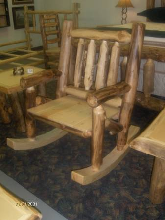 NEW large aspen log rocking chair - $511 (Wades Furniture)