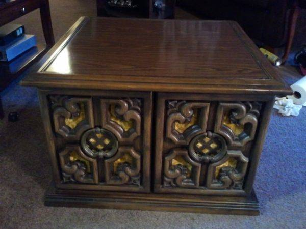 vintage side table with storage - $35 (downtown prescott)