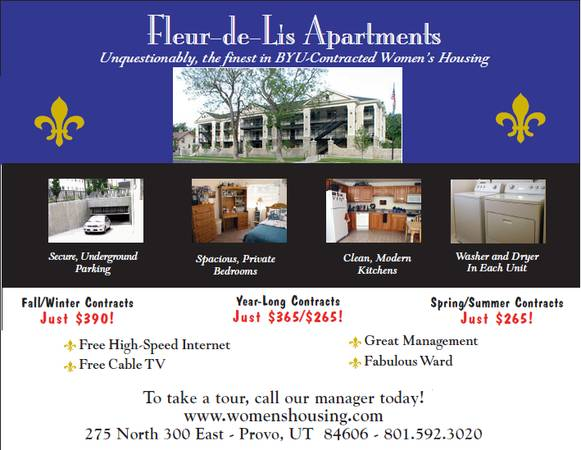 $390 1400ftsup2 - 4 spots at Fleur de Lis Womens Apartments (275 N 300 E Provo, UT 84606)