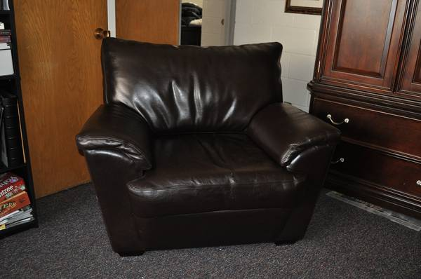 Dark Brown Leather Couch and Chair - $300 (Wymount, Provo UT)