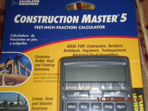 (ENGLISH ESPANOL)BRAND NEW CALCULATOR CONSTRUCTION MASTER 5 - $45 (HIGHLAND RANCH-SUN VALLEY )