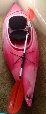 Kayak- Pink 9.5 Swifty Perception Sport with Chute Paddle - $300 (Pacific Beach)