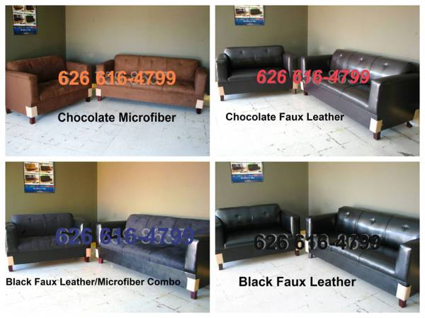 BLACK LEATHER SOFA LOVESEAT $395 (I DELIVER)
