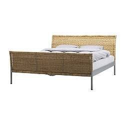 IKEA SUNDNES wicker queen size sleigh bed