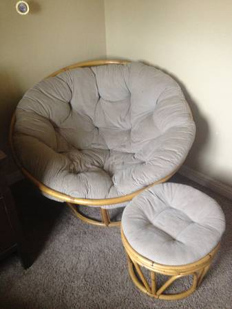 Papasan Chair and Stool - $60 (Lakeside)