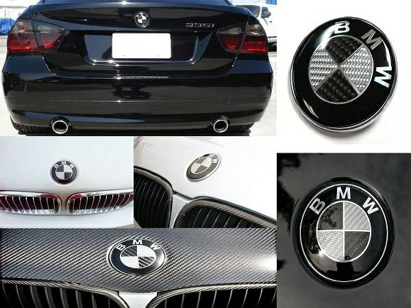 BMW Euro Style Black Carbon Fiber Emblems Wheel Caps 1 3 5 7 Series - $17 (Oceanside)