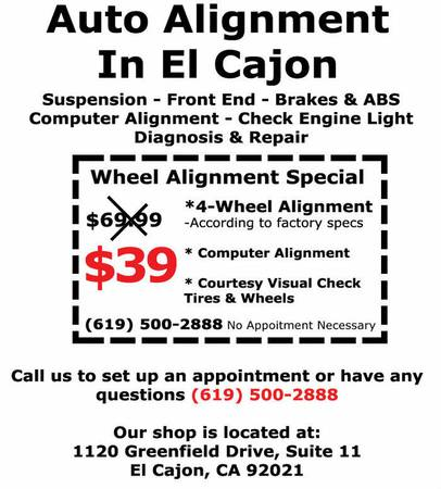 COMPUTER ALIGNMENT SPECIAL $39.00 ACT NOW-NEW USED TIRES FOR SALE - $20 (EL CAJON)
