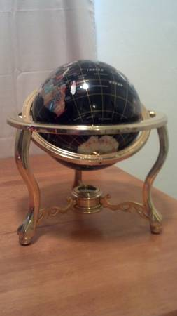 Black Onyx Gemstone Globe with 3-leg Gold Stand - $499 (Normal Heights)