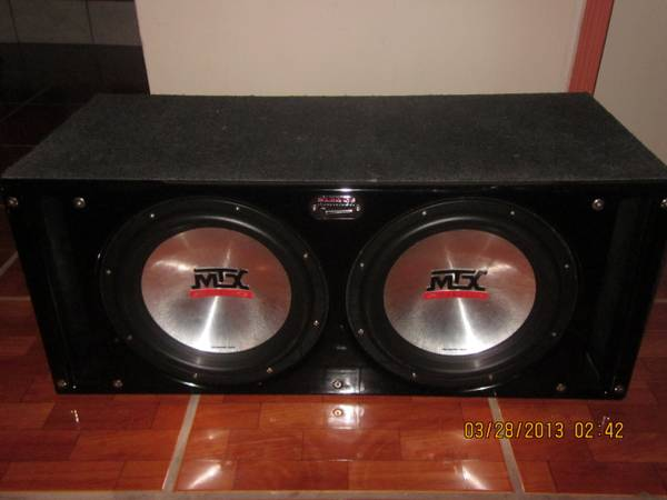 Two 12 MTX 7500 on Sledgehammer box - $200 (La Jolla-Spring Valley)