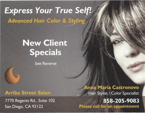 SPECIAL - HAIRCUT $20 - COLOR $40 - HIGHLIGHTS $75 (University City La Jolla)