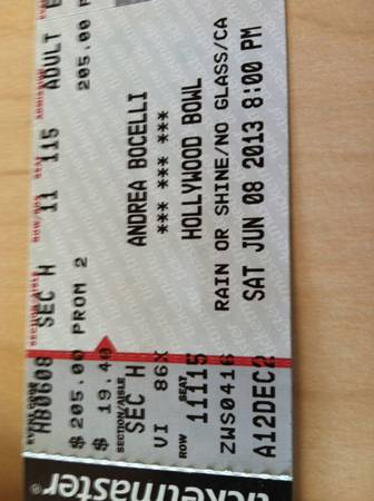 Andrea Bocelli (pair) - $400 (Hollywood Bowl June 8)