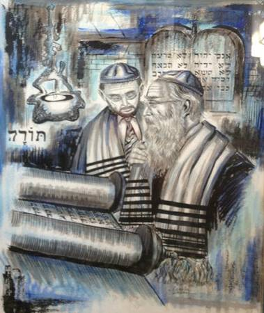 Rare George Crionas Two Old Rabbis Reading The Torah Watercolor Art - $4950 (ONE OF A KIND)