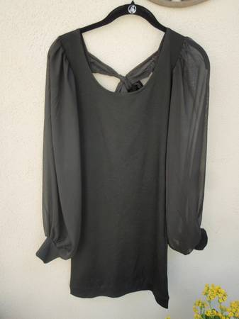 Black party dress with long sheer full sleeves, Small, NEW - $5 (Santa Barbara)