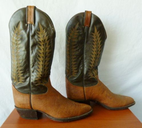 Tony Lama Western Leather Boots Embroidered Two-Tone Brown MenWomen - $80 (Calle Real Fairview)