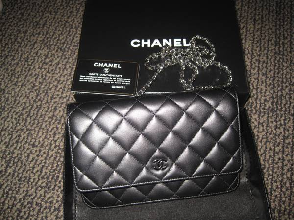 CHANEL wallet on Chain, Black Lambskin - $1200 (Santa Barbara)