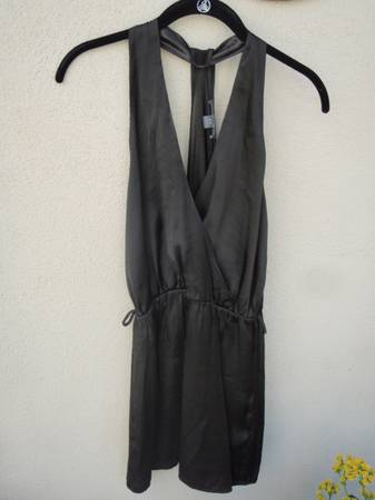Black short satin summer dress, small - $2 (Santa Barbara)
