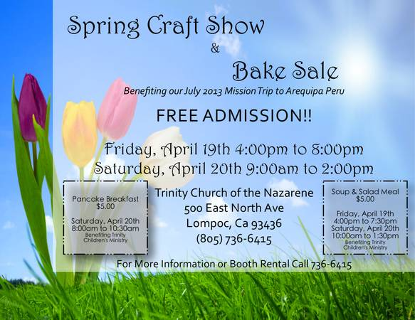 Spring Craft Show Bake Sale - Crafters Wanted (Trinity Church)