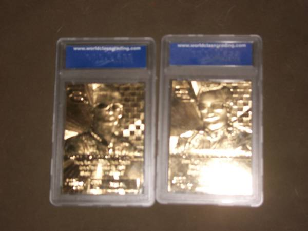 Dale Earnhardt and Earnhardt, Jr. Gold Cards - $10 (Orcutt)