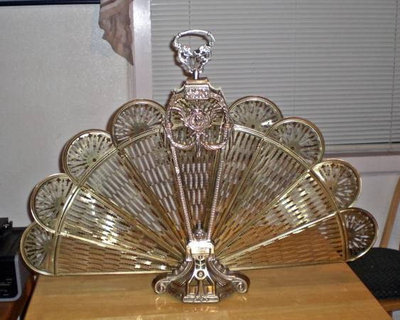 Vintage Brass Peacock Fan Fireplace Screen Cameo Lady - $40 (NIPOMO)