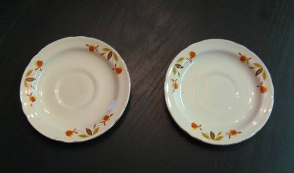 Vintage HALL CHINA Autumn Leaf Saucers - 2 - - $5 (Snowflake)