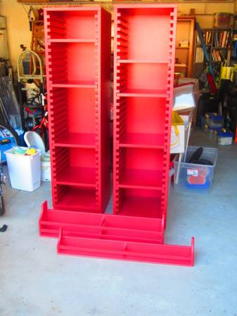 Pottery Barn for Kids Set of two Red Bookshelves and Shelves - - $500 (Orcutt)