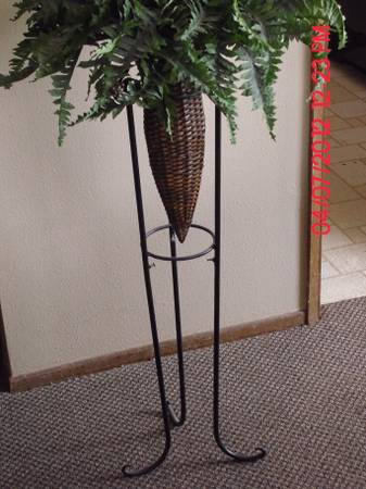tall iron and wicker plant stand - $15 (Pismo Beach)