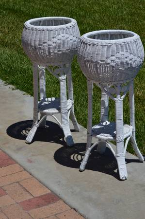 2 Vintage White Wicker Plant Stands used for Wedding - Each - $20 (Templeton)