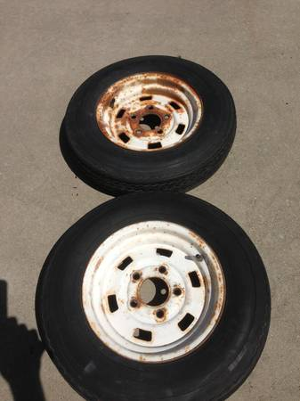 2) 5- lug Trailer Wheels w 5.30 x 12 tires - $20 (Los Osos)