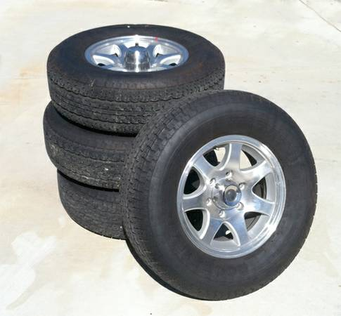 Trailer Tires and wheels (4) - Goodyear Marathons - $550 (Atascadero)