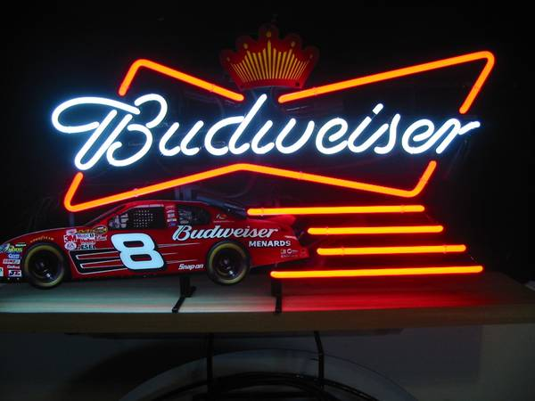neon beer sign NASCAR 8 Menards budweiser bud - $250 (Oxnard Calif 93035 )