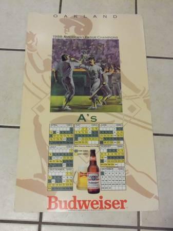 1989 Oakland AS Budweiser large store display schedule - $25 (atascadero)