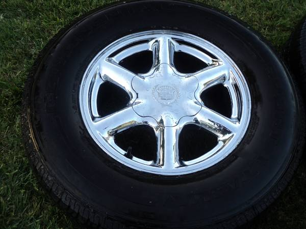 16 OEM Chrome GMChevy Cadillac Wheels Tires - $325 (Modesto)