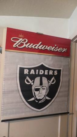 Vinyl Budweiser Raiders Sign (Stockton) - $25