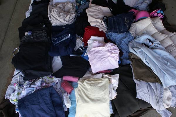 Boxes of leftover garage sale clothing - $30 (Stockton,ca)