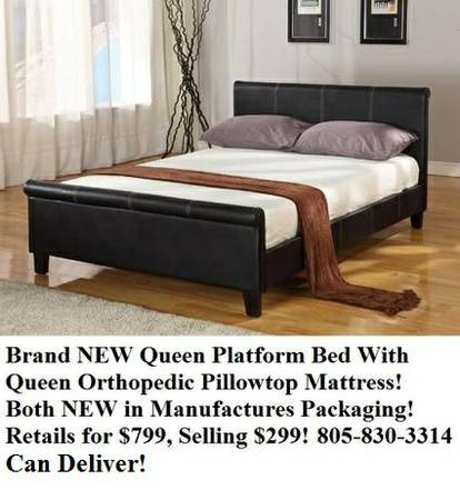 96169658Brand NEW Queen Leather Platform Bed W Ortho Pillowtop Mattress - $299 (Camarillo)