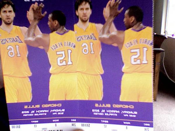 LAKERS VS. BULLS BASKETBALL GAME TICKETS SUNDAY MARCH 10TH 2013 - $275 (SEC. 214 ROW 8 AISLE)